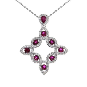 14K White Gold Ruby Fashion Pendant