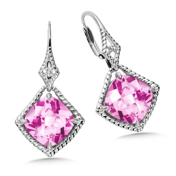 Sterling Silver Pink Sapphire Leverback Earrings