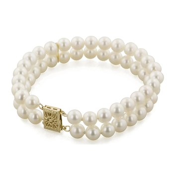 "Freshwater Cultured Pearl 7"" 2 Row Bracelet"