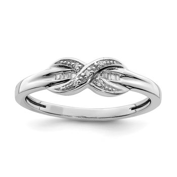 Sterling Silver Rhodium Plated Diamond Crossover & Baguette Ring