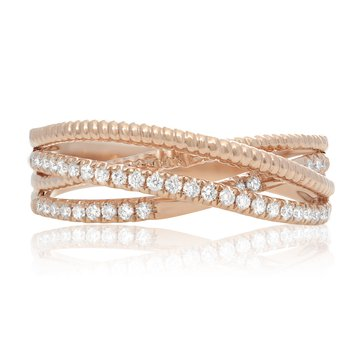 Rose Gold & Diamond Overlapping Band
