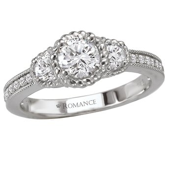 3-Stone Halo Complete Ring