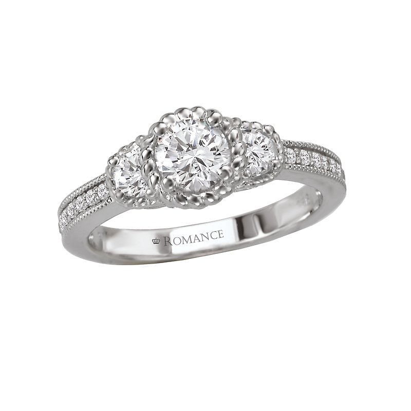 Romance 3-Stone Halo Complete Ring