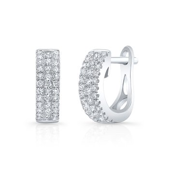 White Gold Channel Set Mini Huggie Hoops