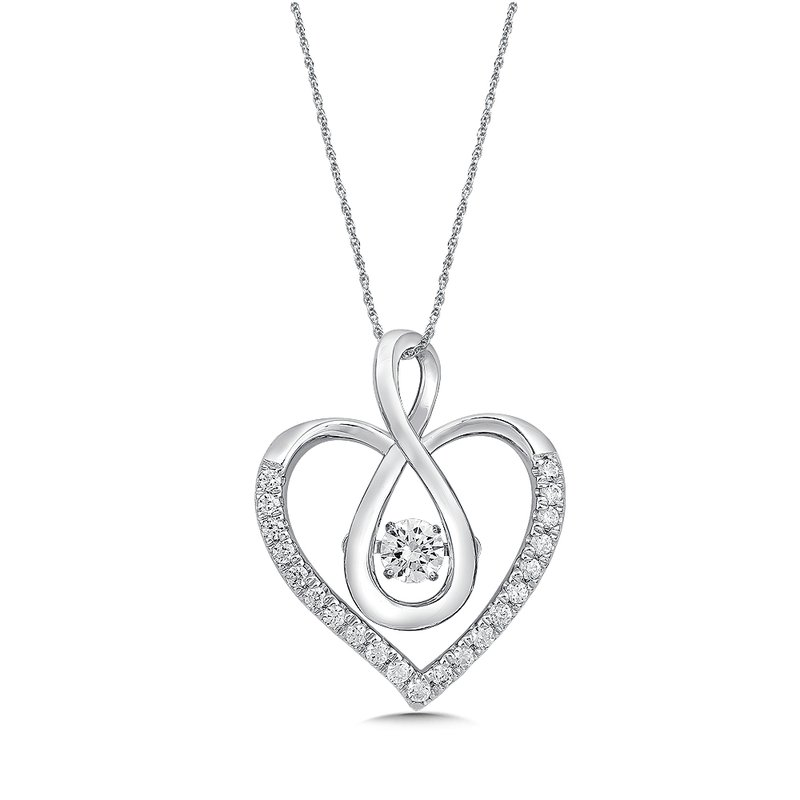SDC Creations Dancing Diamond  Heart Pendant in 14K White Gold with Chain
