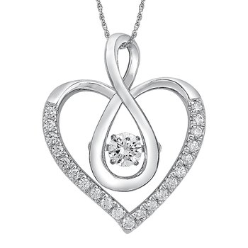 Dancing Diamond  Heart Pendant in 14K White Gold with Chain