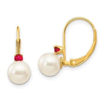 14k 6-6.5mm White Round FW Cultured Pearl Ruby Leverback Earrings