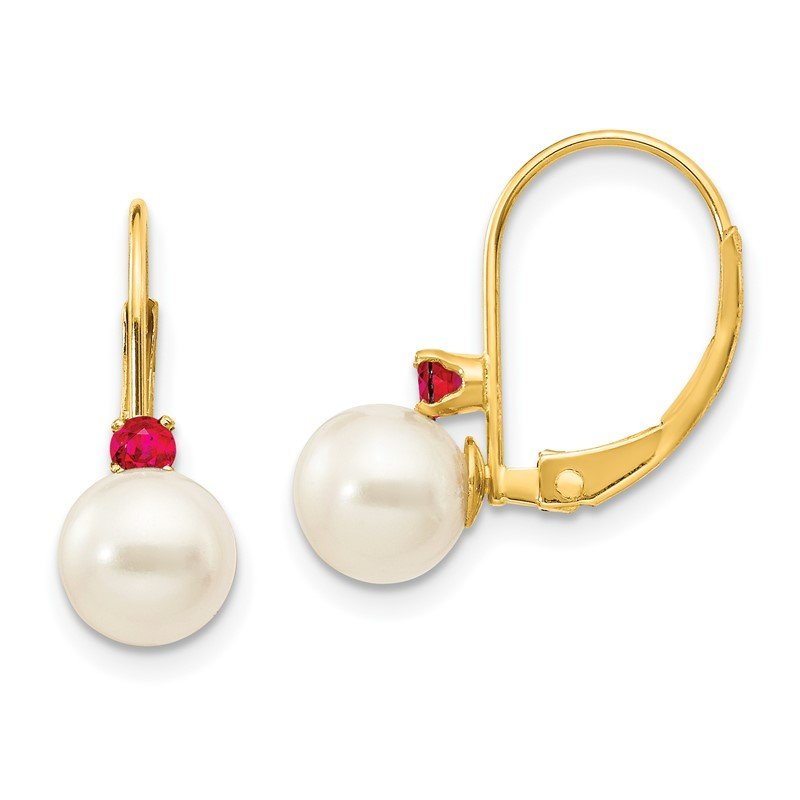 Quality Gold 14k 6-6.5mm White Round FW Cultured Pearl Ruby Leverback Earrings