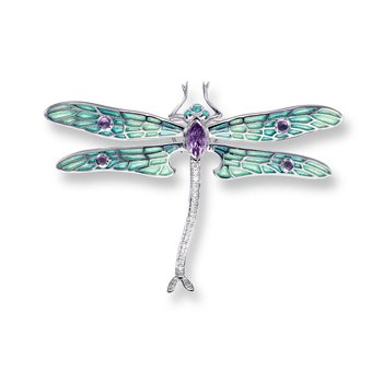 Green Dragonfly Brooch-Pendant.Sterling Silver-White Sapphires - Plique-a-Jour
