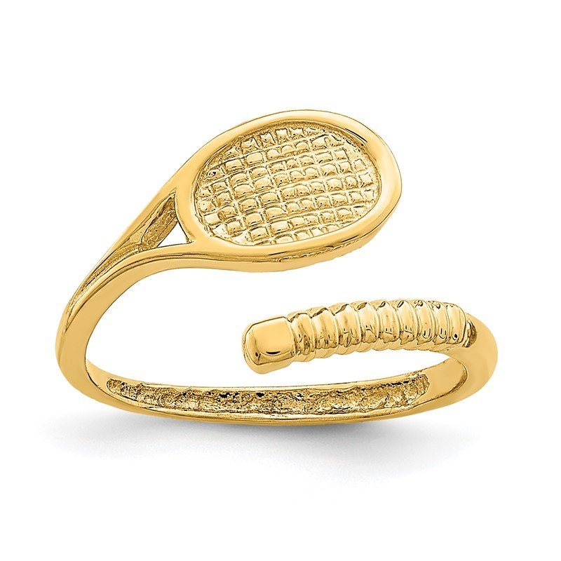 Quality Gold 14K Polished Tennis Racket Toe Ring