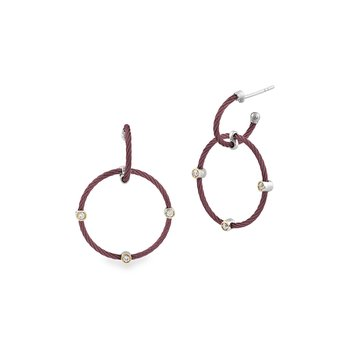 Burgundy Double Hoop Drop Earrings with 18kt Yellow Gold & Diamonds