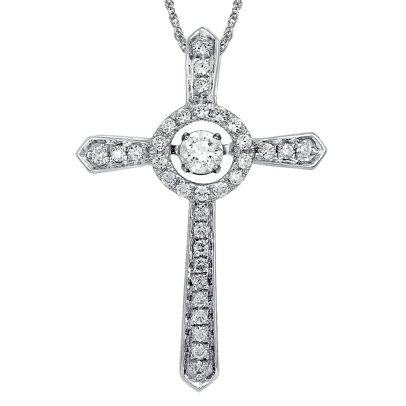 SDC Creations Dancing Diamond Cross Pendant in 14K White Gold  with Chain