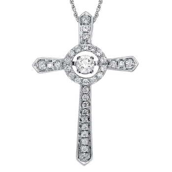 Dancing Diamond Cross Pendant in 14K White Gold  with Chain