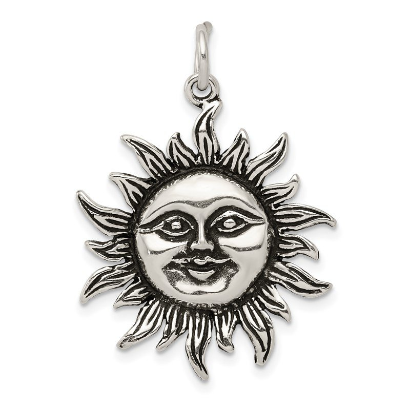 Fine Jewelry by JBD Sterling Silver Antiqued Sun Charm