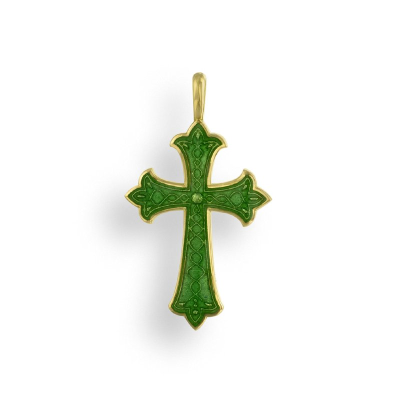 Nicole Barr Designs Green Cross Pendant.18K