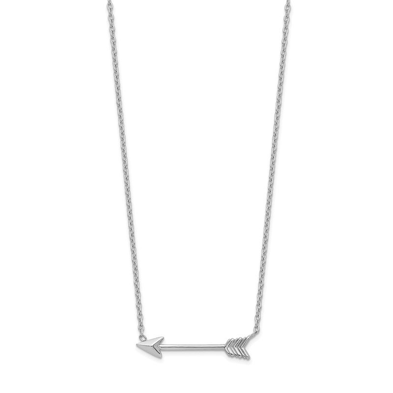 Quality Gold 14k White Gold Polished Arrow Necklace