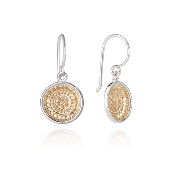 Dotted Dish Drop Earrings - Gold