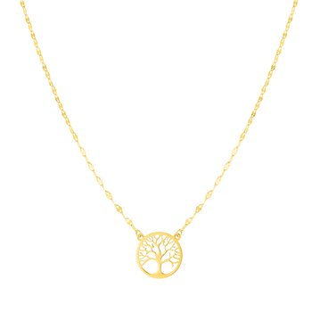 14K Gold Tree of Life on Mirror Chain Necklace