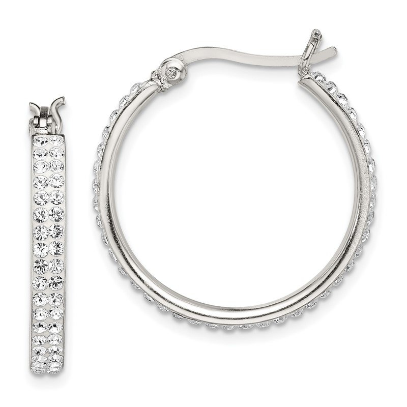 Quality Gold Sterling Silver White Swarovski Crystal Hoop Earrings