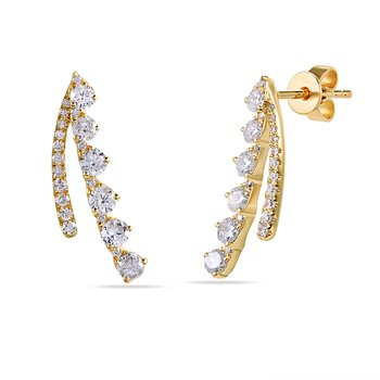 14K Diamond ear climbers 0.80C