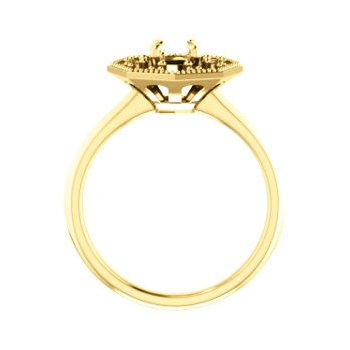 18K Yellow 5.2 mm Round Halo-Style Engagement Ring Mounting