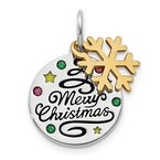 Lester Martin Online Collection Sterling Silver Gold Tone Enamel Swarovski Zirconia Christmas Pendant
