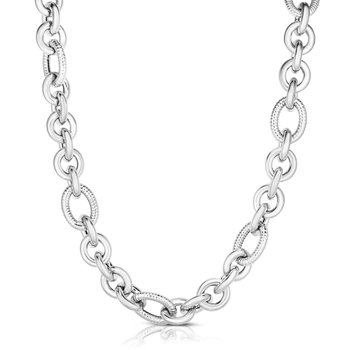 Silver Italian Cable Bold Link Necklace