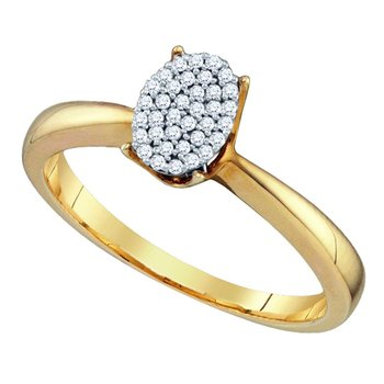 Yellow-tone Sterling Silver Womens Diamond Oval Cluster Bridal Wedding Engagement Ring 1/10 Cttw