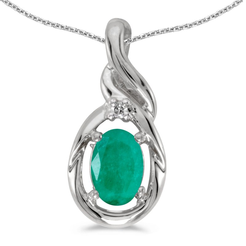Color Merchants 14k White Gold Oval Emerald And Diamond Pendant