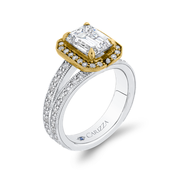 18K Two Tone Gold Emerald Diamond Engagement Ring with Split Shank (Semi-Mount)