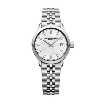Ladies Quartz Date Watch, 26mm steel on steel, white mother-of-pearl dial