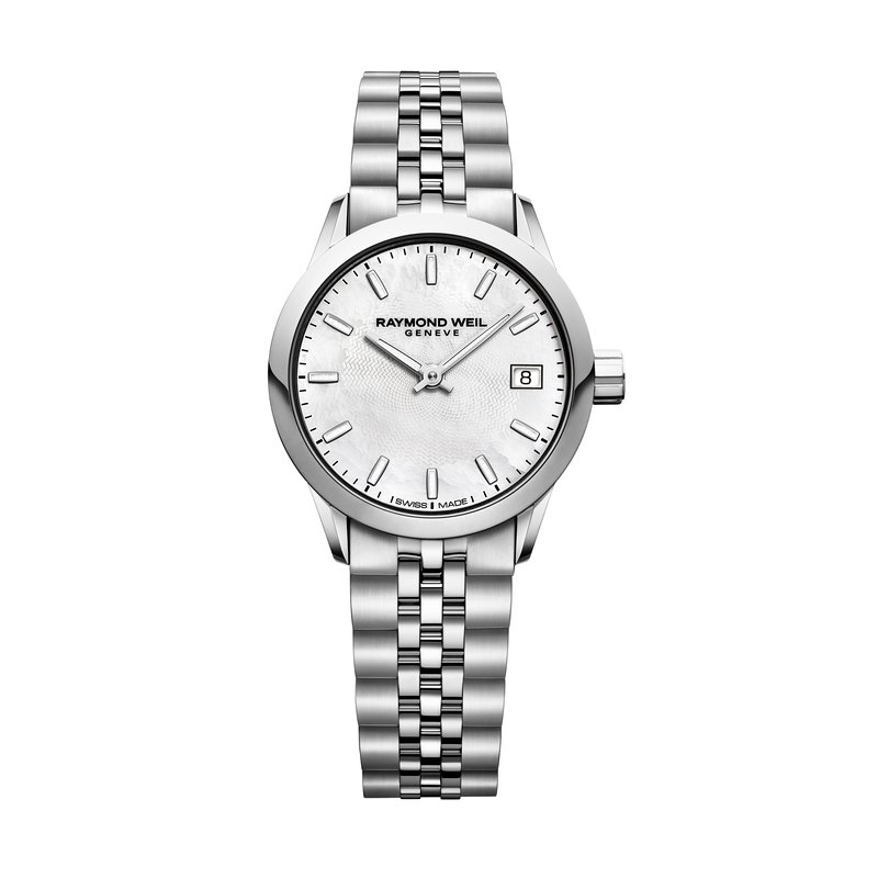 Raymond Weil Ladies Quartz Date Watch, 26mm steel on steel, white mother-of-pearl dial