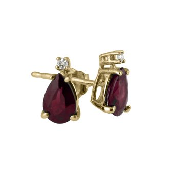 14k Yellow Gold  Pear Shaped Ruby And Diamond Earrings