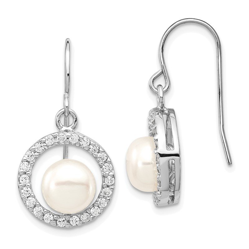Quality Gold Sterling Silver Rhodium-plated 7-8mm White FWC Pearl CZ Dangle Earrings