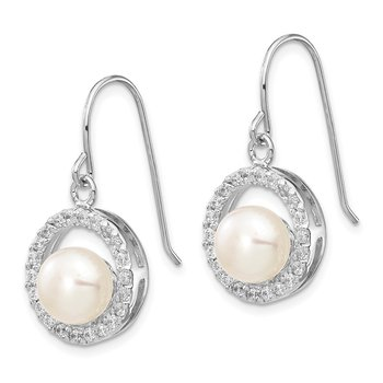 Sterling Silver Rh-plated 7-8mm White FWC Pearl CZ Dangle Earrings