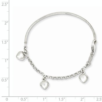 14k White Gold Polished Dangle Heart Baby Bracelet