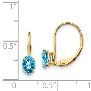 14k 6x4mm Oval Blue Topaz Leverback Earrings