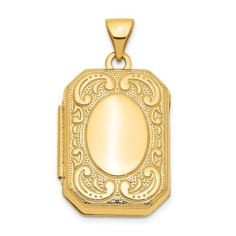 Quality Gold 14k Yellow Gold Fancy Rectangle Locket