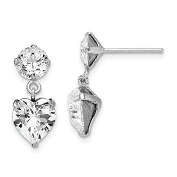 Sterling Silver RH-plated Swarovski Crystal Heart Dangle Post Earrings