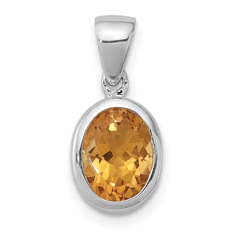 Quality Gold Sterling Silver Rhodium Citrine Pendant