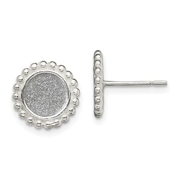 Sterling Silver Polished Enamel Glitter Fabric Round Post Earrings