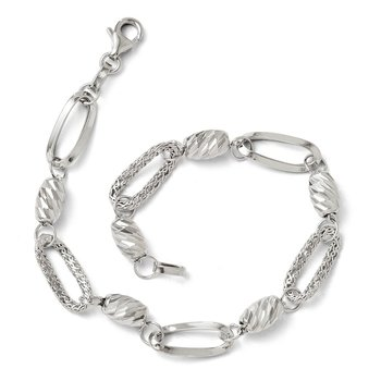 Leslie's 14k White Gold Polished Textured & Diamond Cut Link Bracelet