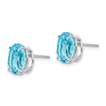 14k White Gold Blue Topaz Oval Stud Earrings