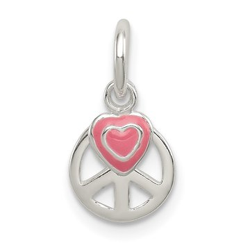 Sterling Silver Peace Sign with Pink Enamel Heart Pendant