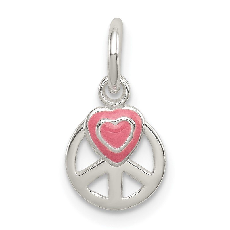 Quality Gold Sterling Silver Peace Sign with Pink Enamel Heart Pendant