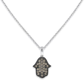 Champagne Diamond Hamsa Necklace in 14k White Gold with 27 Diamonds weighing .34ct tw.