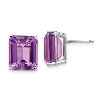 14k White Gold 12x10mm Emerald Cut Amethyst Earrings
