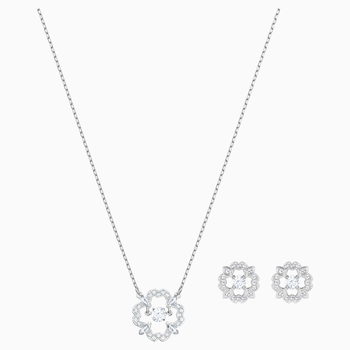 Sparkling Dance Flower Set, White, Rhodium plated