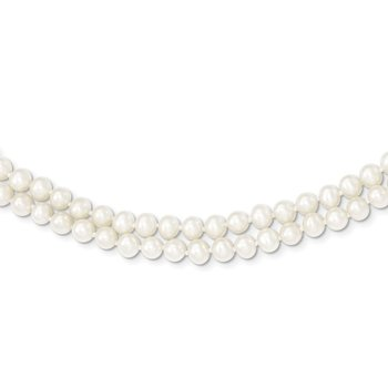 14k 5-6mm White Near Round FW Cultured Pearl 2-strand Necklace