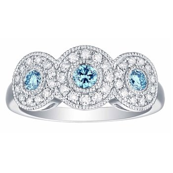 Smiling Rocks 0.60Ct Lab Grown Blue Color Diamond with G-H/VS1 Diamond 3-Stone Halo Engagement Ring